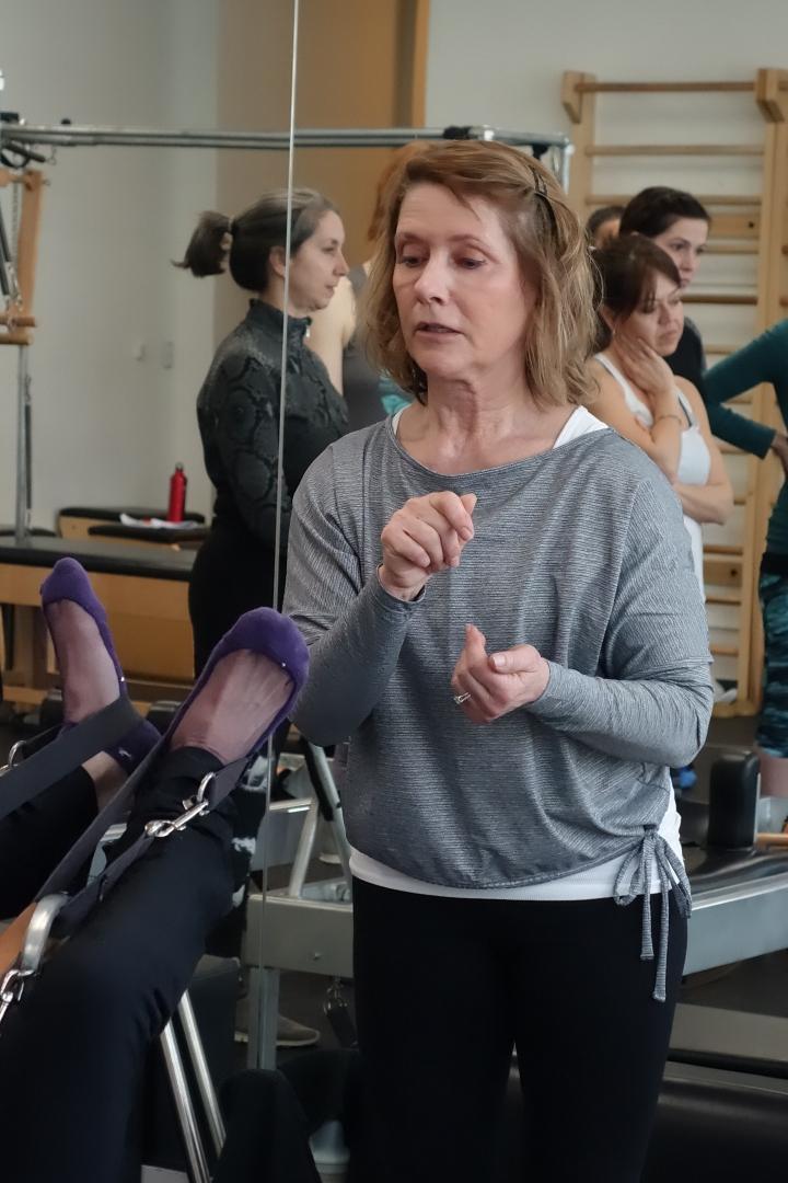 Sharon teaching pilates