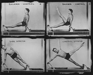 Joe Pilates demonstrates on the Reformer